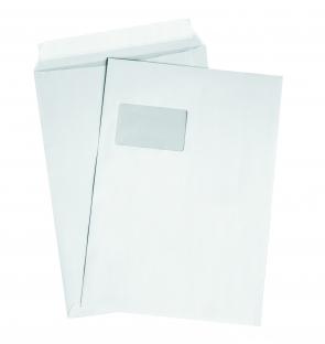 DIN C4 Versandtaschen, weiß, mit Fenster, HK, 90g/qm