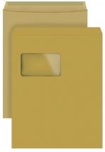 DIN C4 Versandtaschen, natron/braun, mit Fenster, SK, 90g/qm