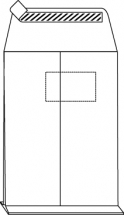 C4 Faltentaschen mit 2cm Falte, weiß, mit Fenster, HK, 120g/qm