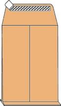 C4 Faltentaschen mit 4cm Falte, braun, ohne Fenster, HK, 120g/qm